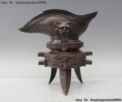 Chinese Palace Copper Bronze Ware Dynasty Dragon Head Drinking Cup Goblet Cann