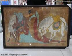 Chinese Old Datang Dun Huang Two Woman Horse Mural Painting Fresco Wall Painting