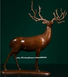 Chinese Pure Copper Bronze Modern Home Decoration Animal Sika Deer Art Sculpture