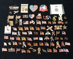 Lot Of 83 Usa Flag Pins Variety Of Sizes And Styles