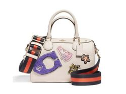 Coach Mini Bennett Satchel Crossbody Leather With Patches and Strap White Color $198.00