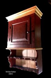 Tiger Maple Trimmed - Paint Decorated Wall Cupboard By Rob Sykes Furniture