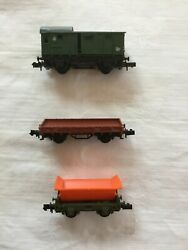 Vintage Arnold N Scale Train Freight Cars - Lot Of 3 Includes Rare Tipping Wagon
