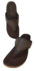 Aetrex Sandalistas Womenand039s Thong Sandals 10m Brown Leather Upper Corkbed Midsole
