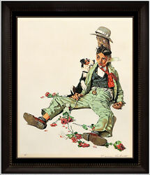 Norman Rockwell Rejected Suitor Hand Signed Color Lithograph Illustration Art