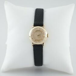 Longines 14k Yellow Gold Womenand039s Mystery Dial Hand-winding Watch W/ Leather Band
