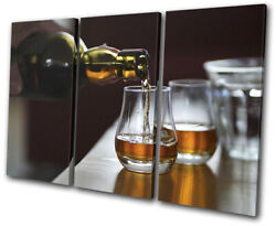 Whisky Bourbon Drink Bar Food Kitchen Treble Canvas Wall Art Picture Print
