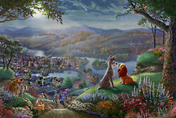 Thomas Kinkade Studios Lady And The Tramp Falling In Love 12 X 18 Le G/p Framed