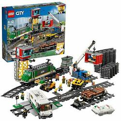 Lego City 1226pc Powered Cargo Train Set With Rail Forklift Crane Building More