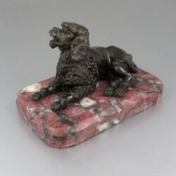 Antique French Spelter Figurine Statue French Poodle Dog Marble Base