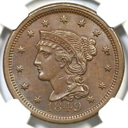 1849 N-27 R-4 Ngc Ms 63 Bn Braided Hair Large Cent Coin 1c