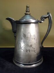Antique 1868 Us Silver-plated Lined Ice/water Pitcher Jug By Meriden B. Company