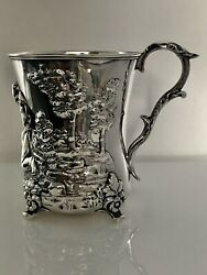 Irish Sterling Silver Cup Figural Boy And Rabbit Samuel Hayne Dudley Cater 1853
