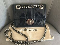BIMBA & LOLA Dawn Blue Patent Leather Quilted Crossbody Shoulder Bag Chain Strap $85.98