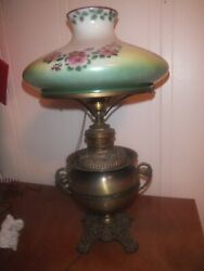 Signed Miller Antique Converted Oil Lamp 23 Tall - 13 Diameter - 1895-1905
