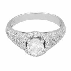 New 18carat White Gold 1.20tcw Diamond Solitaire Halo Ring Size K 1/2 5mm Head