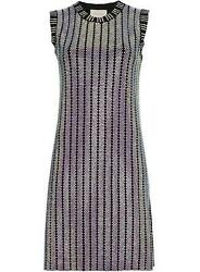 Crystal Embroidered Ribbed Knit Dress Xsmall