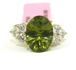 Natural Oval Green Peridot And Diamond Solitaire Ring 14k Yellow Gold 6.32ct