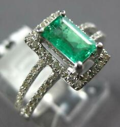 .91ct Diamond And Aaa Emerald 14k5 White Gold 3d Emerald Cut Halo Engagement Ring