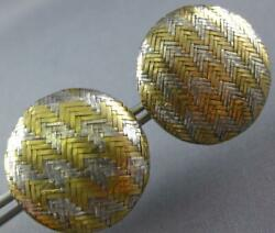Estate Large 18kt Yellow Gold And Silver 3d Round Clip On Classic Earrings