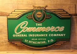 The Commerce General Insurance Company Hand Painted Vintage Quebec Sign Rare