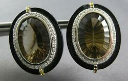 51.61ct Diamond And Aaa Smoky Topaz And Onyx 14k White Gold Clip On Hanging Earrings
