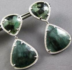 Extra Large 30.45ct Diamond And Aaa Green Agate 14k White Gold 3d Hanging Earrings