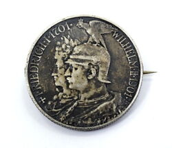 1701-1901 German States Prussia 5 Mark 200 Years Silver Coin Brooch Pin