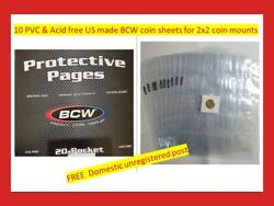 10 New Pages Bcw Us Made 20 Pouch Coin Sheets For Album Storage Of 2x2 Mounts