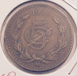 1927 Mexico 5 Centavos Coin From A Fresh Old Estate Hoard You Be The Judge
