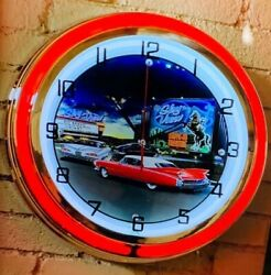 Classic Old Car Double Neon Red/white Wall Clock Car Truck Automotive Sign