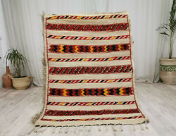 Handmade Moroccan Straw Fiber Wool Mat 3and0398x5and0392 Striped Vintage Berber Hassira