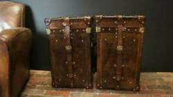 Vintage English Handmade Bridle Leather Occasional Side Table Trunks