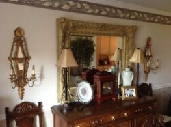 Antique Italian Candelabra Pair Handmade Gilded Wood And Mirror W/ Orig. Candles
