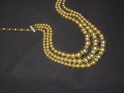 Pearl and Rhinestone Necklace - Vintage - Three Strands