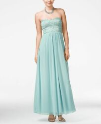 Speechless Juniors' Strapless Lace Embellished Gown Dress