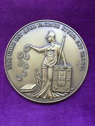 Beautiful Antique And Rare Bronze Medal Of Academy Of Sciences Of Lisbon