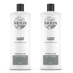 Nioxin System 1 Cleanser Hair Thickening Shampoo 33.8 Oz 2pack New Packaging