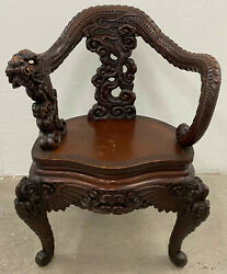 Antique Asian Hand Carved Full Body Dragon Arm Chair