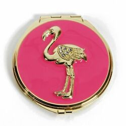 Pink Enameled Flamingo Mirror Compact Sp1667