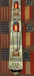 Keep Calm And Fix Bayonets, Southern American Civil War Themed Men's Neck Tie