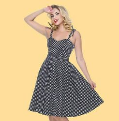 Bettie Page Albuquerque Dress In Black Dots 4-14 Bnwt Fast Free Shipping