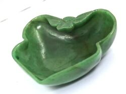 Natural Green Jade 1135 Carats Carved Leaves Bowl For Home Decor