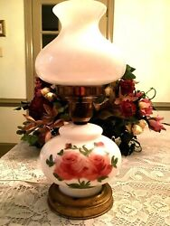 A Beautiful Vintage Gone With The Wind Hand Painted Milk Glass Lamp Pink Roses