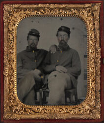 Civil War Era 6th Plate Tinted Tintype. Union Soldiers, Affectionate Pose.