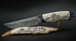 Exclusive Mosaic Damascus 20000 Layers Author's Knife Fight Of Moose