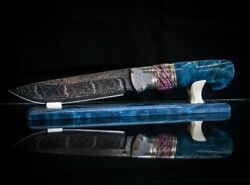 Exclusive Mosaic Damascus 20000 Layers Authorand039s Knife Blue Fox