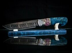 Exclusive Mosaic Damascus 20000 Layers Author's Knife Blue Fox