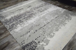 8x10 Hand Knotted Transitional Abstract Gray Wool Bamboo Silk Oriental Rug