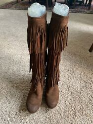 Diesel 3 Layer Fringe Calf High Boot Women Eu41/us10 Brown Red-ish Suede-textile